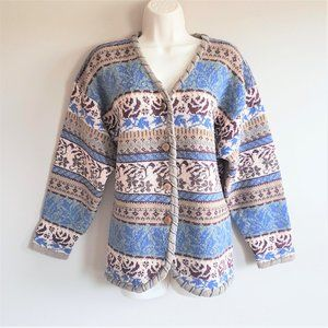 Two Roads vintage 100% wool sweater cardigan.